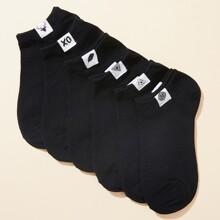 6 Paare Socken mit geometrischem Flicken