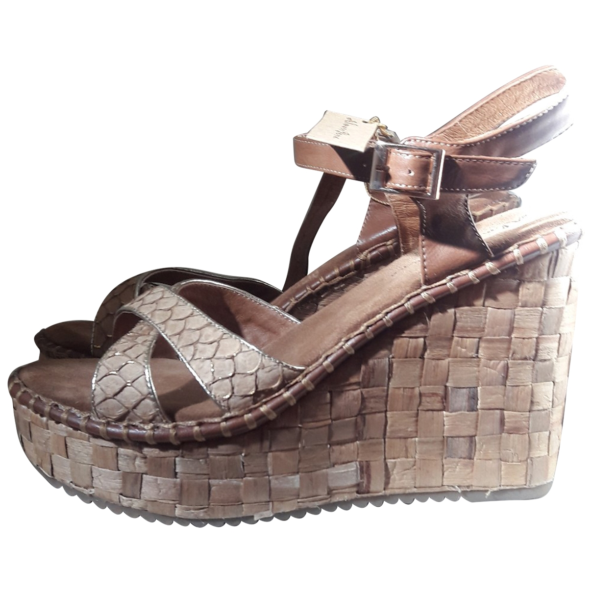 Non Signé / Unsigned \N Beige Leather Sandals for Women 39 IT