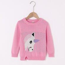 Toddler Girls Cartoon Unicorn Pattern Sweater