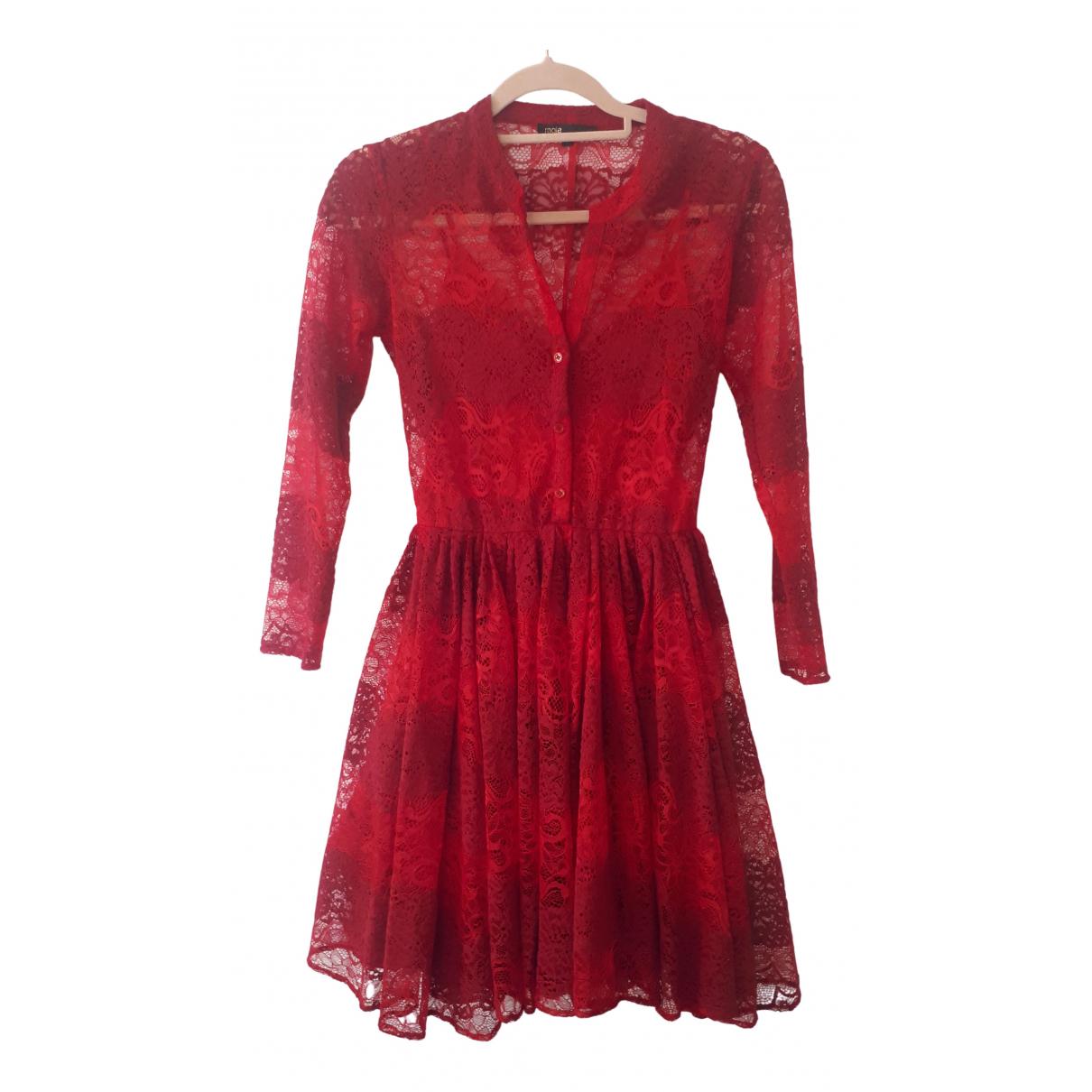 Maje \N Kleid in  Rot Spitze