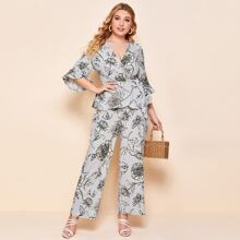 Plus Ruffle Cuff Wrap Belted Floral Top & Palazzo Pants Set