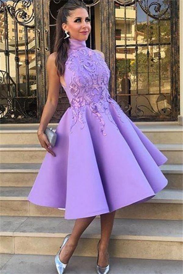 Col haut robes de soiree sexy en dentelle de lavande appliques | Genou longueur sans manches robes de soiree formelles