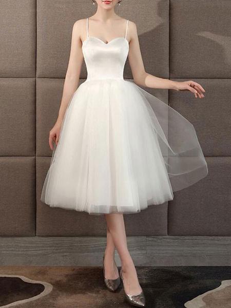 Milanoo Wedding Dresses Sweetheart Neck Sleeveless A Line Tea Length Short Bridal Dress