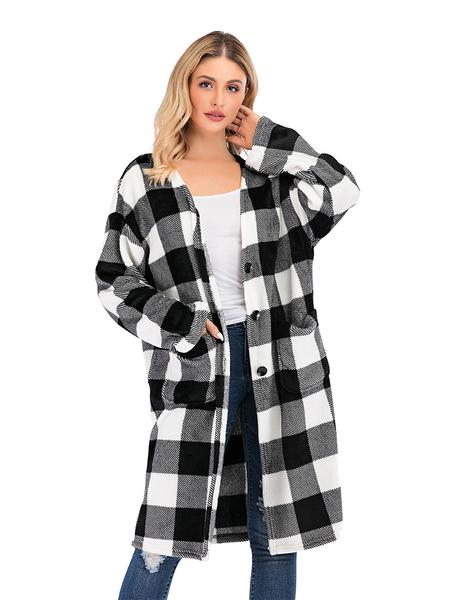 Yoins Black Plaid Long Sleeves Coat