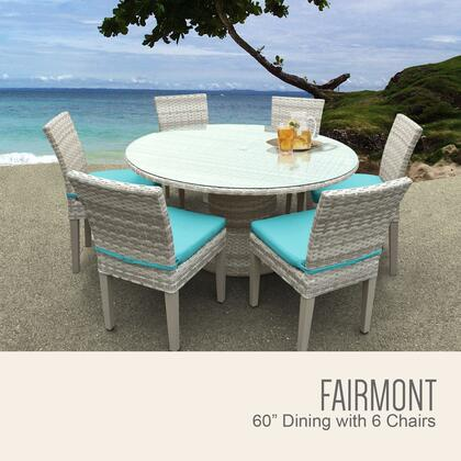 FAIRMONT-60-KIT-6C-ARUBA Fairmont 60 Inch Outdoor Patio Dining Table with 6 Armless Chairs with 2 Covers: Beige and