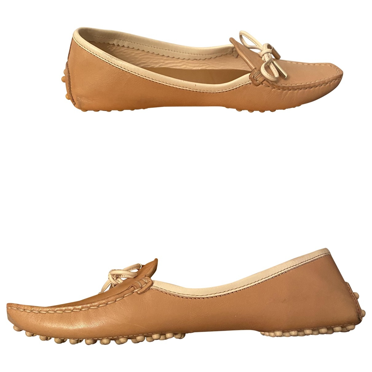 Tod's Gommino Beige Leather Flats for Women 36 EU