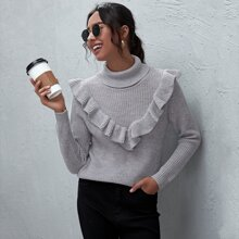 Ruffle Trim Turtleneck Solid Sweater
