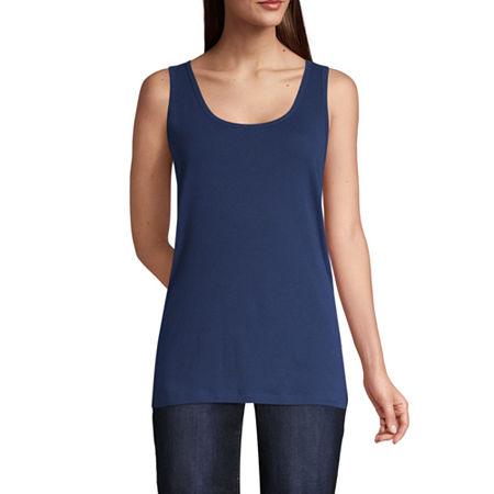 St. John's Bay Tall Womens Scoop Neck Sleeveless Tank Top, X-large Tall , Blue