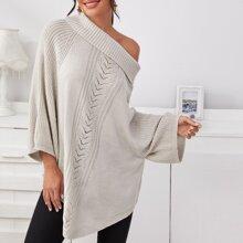Pullover mit Raglanaermeln und gebogenem Saum