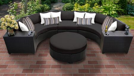 Barbados Collection BARBADOS-06c-BLACK Barbados 6-Piece Patio Set 06c with 1 Armless Chair   2 Cup Table   1 Round Coffee Table   2 Curved Armless