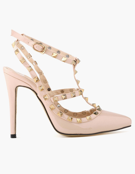 Milanoo Women's Sexy Pointed Toe Slingbacks Studded T-bar High Heel Pump Shoes with Rivets
