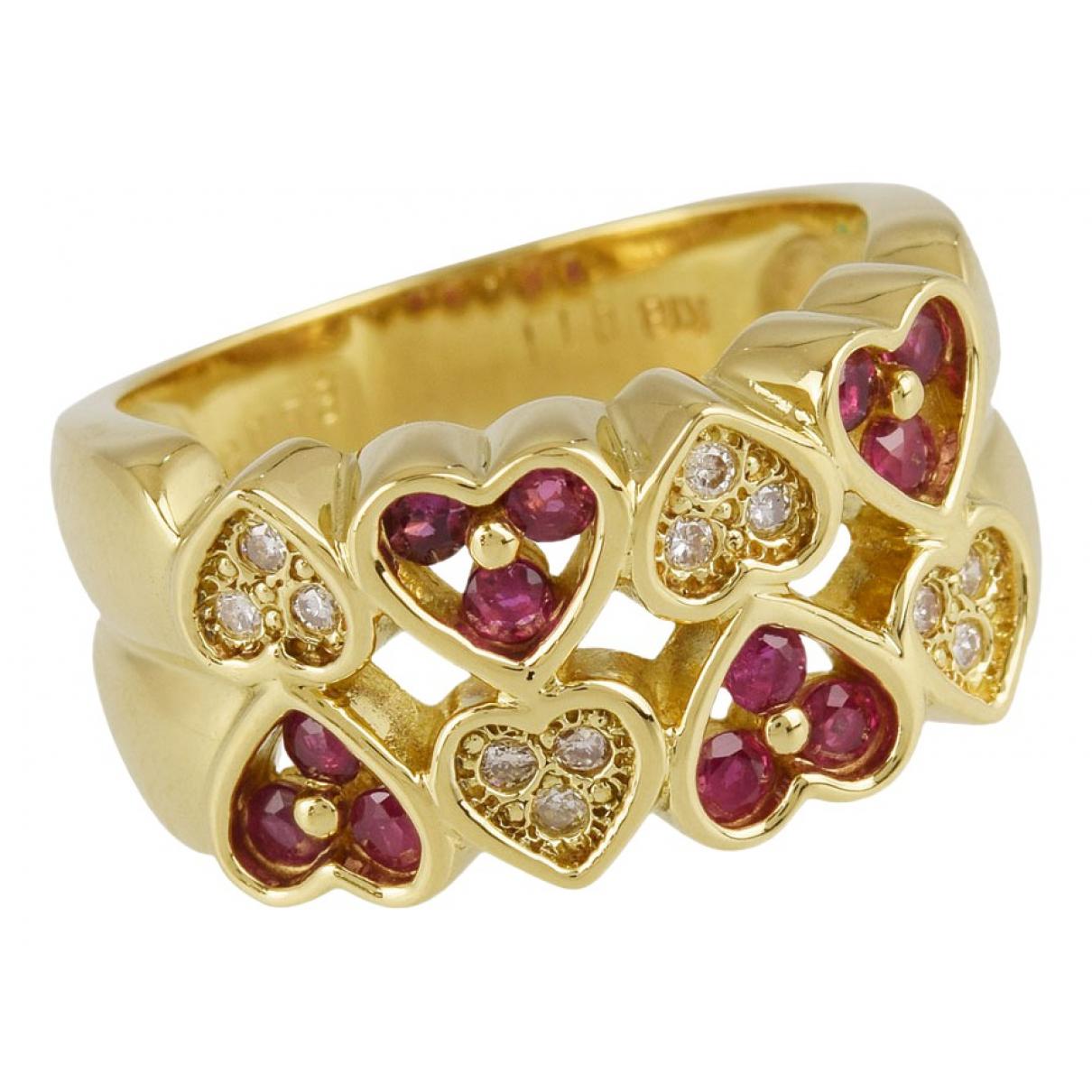 - Bague Motifs Coeurs pour femme en plaque or - dore