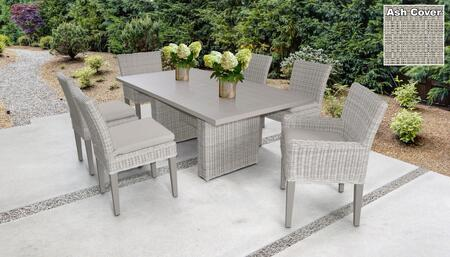 Coast Collection COAST-DTREC-KIT-4ADC2DCC-ASH Patio Dining Set With 1 Table  4 Side Chairs  2 Arm Chairs - Beige and Ash