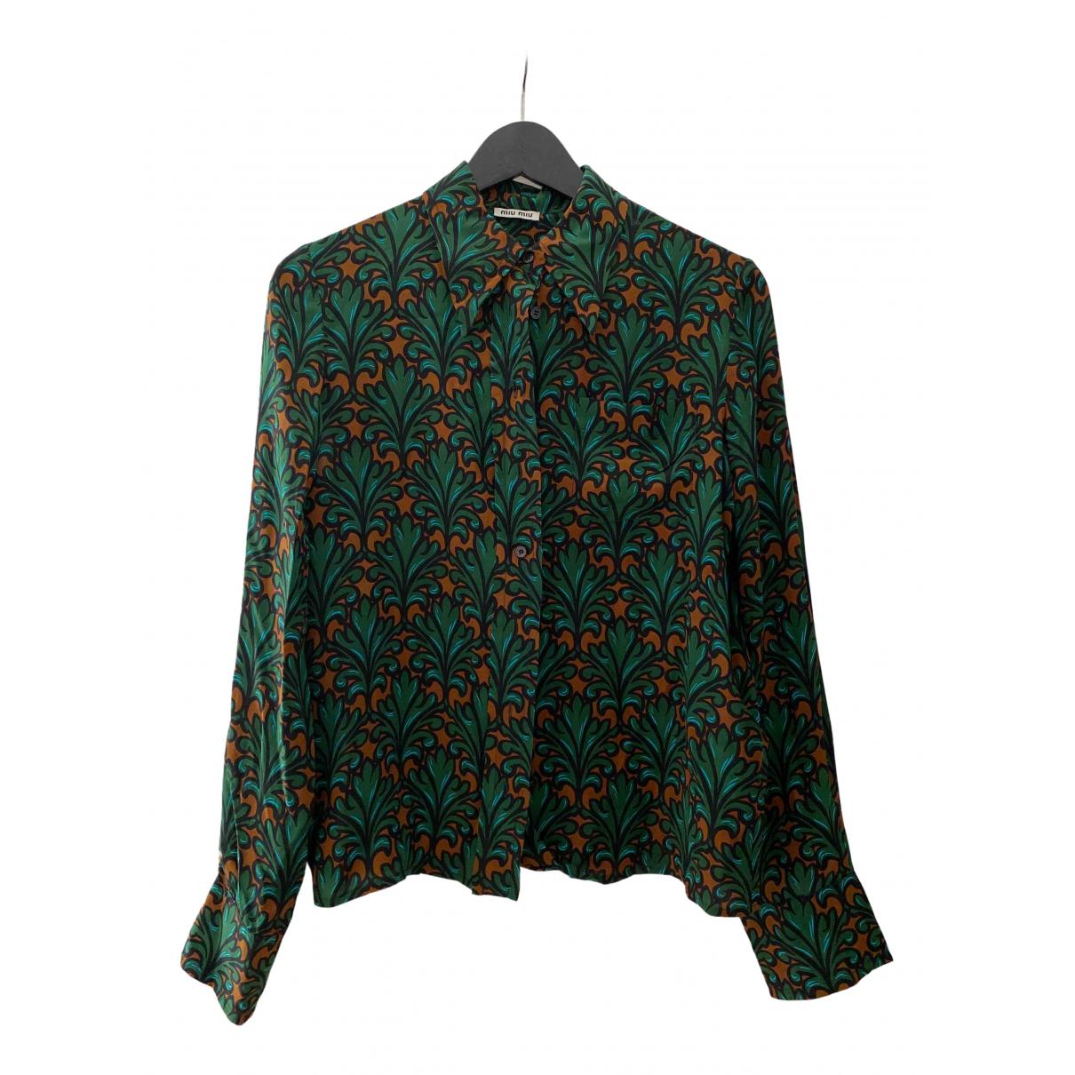 Miu Miu - Top   pour femme en soie - vert