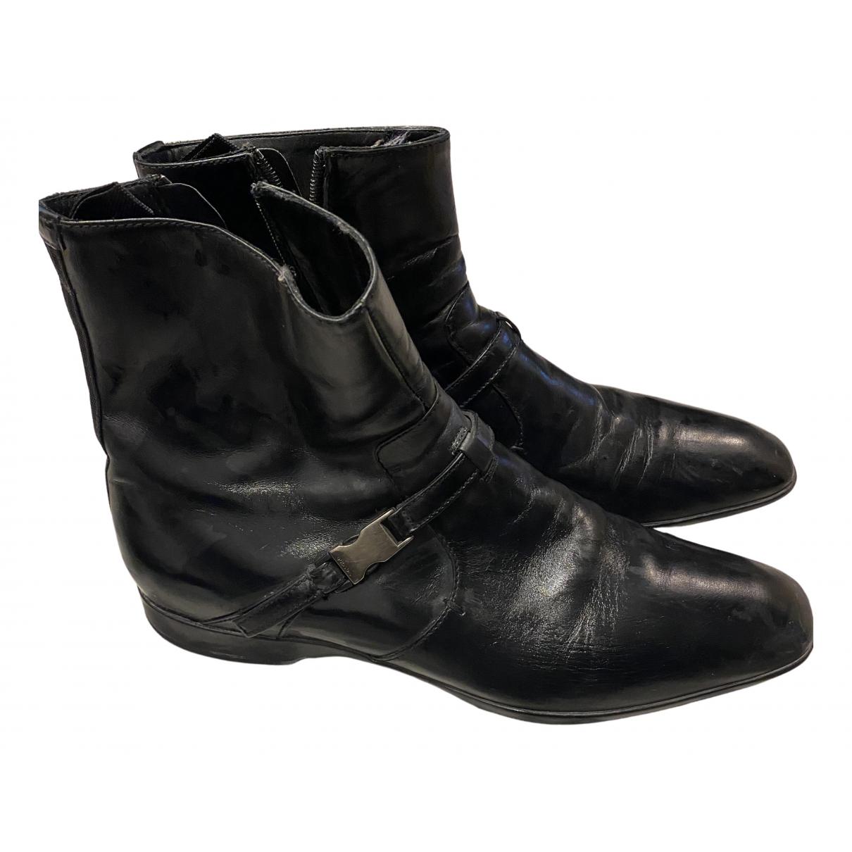 Prada N Black Leather Boots for Men 6.5 US