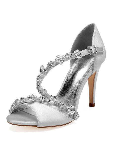 Milanoo Satin Wedding Shoes Red Peep Toe Rhinestones Strappy High Heel Bridal Sandals