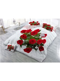 Red Roses Wear-resistant Breathable High Quality 60s Cotton 4-Piece 3D Bedding Sets