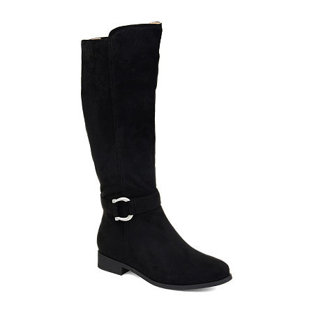 Journee Collection Womens Cate Extra Wide Calf Stacked Heel Zip Riding Boots, 5 1/2 Medium, Black