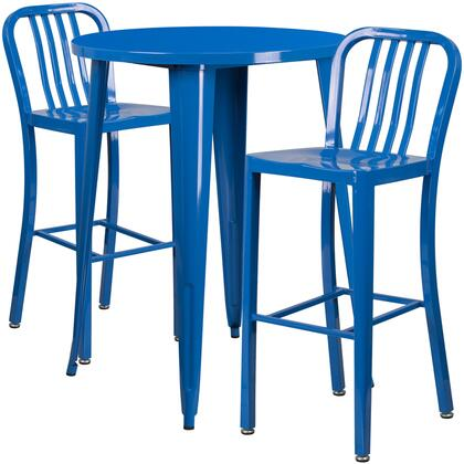CH-51090BH-2-30VRT-BL-GG 3 Piece Set Indoor-Outdoor Bar Table Set with 2 Slat Back Stools  Round Shaped Cafe Table Top  Footrest Support and Powder