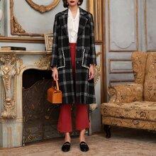 Mantel mit Revers Kragen, Plaid Muster und Perlen