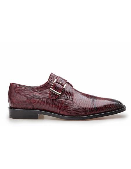 Mens Authentic Belvedere Brand Slip On Metalic Accent Burgundy Shoe