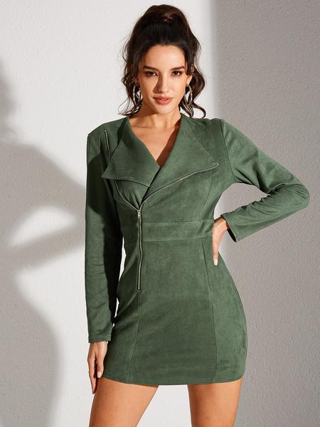 YOINS Army Green Zip Front Lapel Collar Long Sleeves Dress