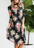 Floral Criss-Cross Halter Casual Dress - Black