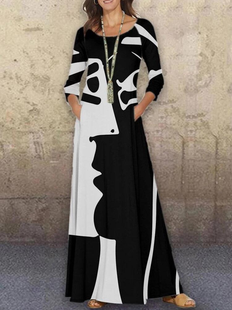 Figure Print Long Sleeve O-neck Abstract Maxi Plus Size Dress