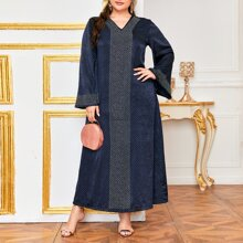Tunika Kleid mit V Kragen und Punkten Muster