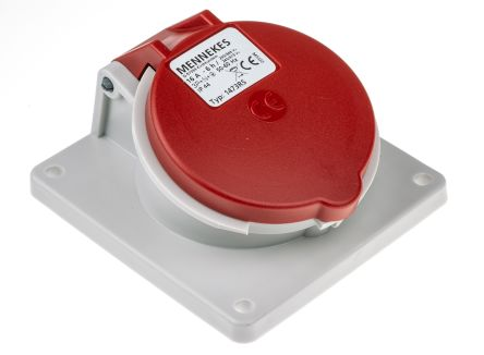 MENNEKES IP44 Red Panel Mount 5P Angled Industrial Power Socket, Rated At 16.0A, 400 V