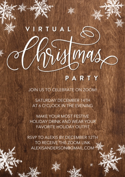 Christmas & Holiday Party Invitations Flat Glossy Photo Paper Cards with Envelopes, 5x7, Card & Stationery -Holiday Virtual Invite Snowflakes by Tumba