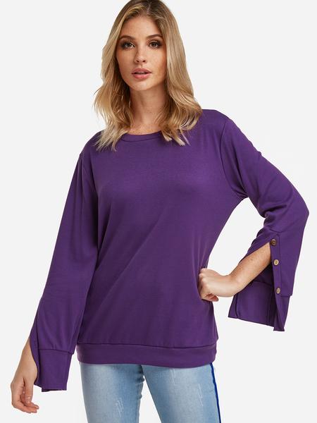 Yoins Purple Button Design Slit Details Crew Neck Long Sleeves T-shirts
