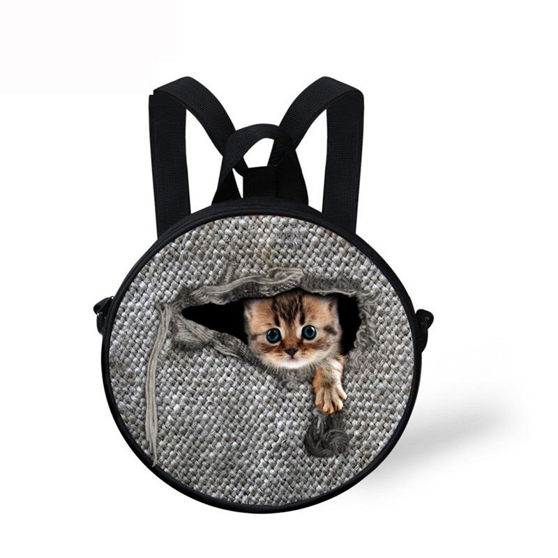 Little Cat in Cloth Pattern School Bag Shoulders Backpack