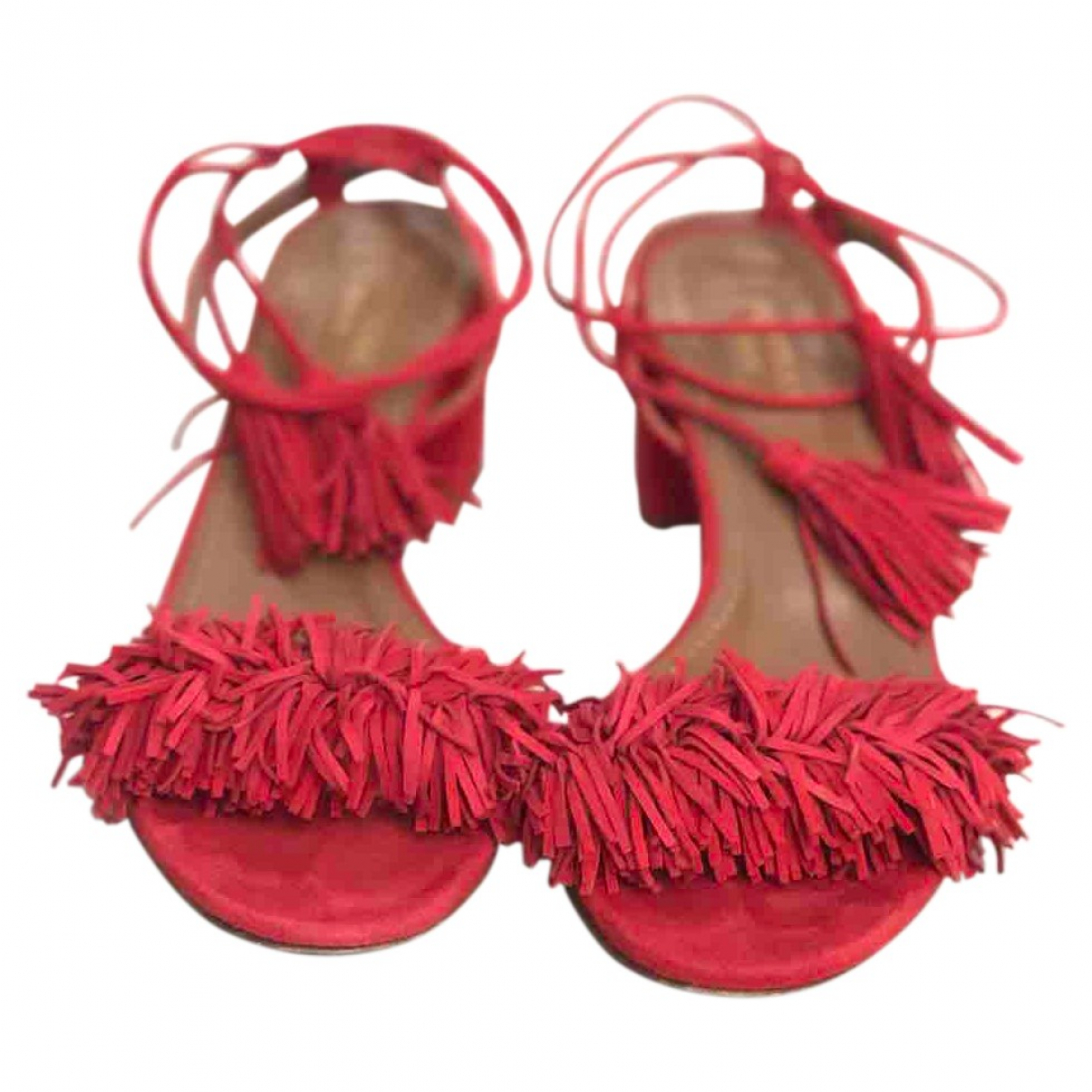 Aquazzura Wild Thing Red Suede Sandals for Women 36.5 EU