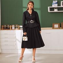 Puff Sleeve Peplum Jacket & Pleated Skirt Set
