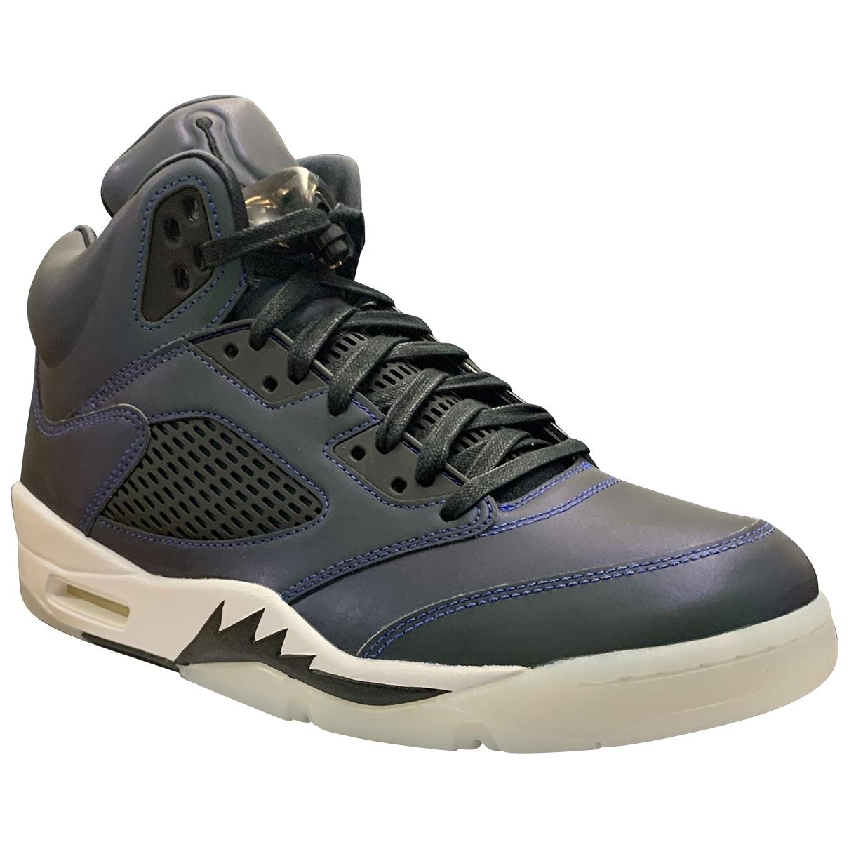 Jordan - Baskets Air Jordan 5 pour homme en cuir - gris