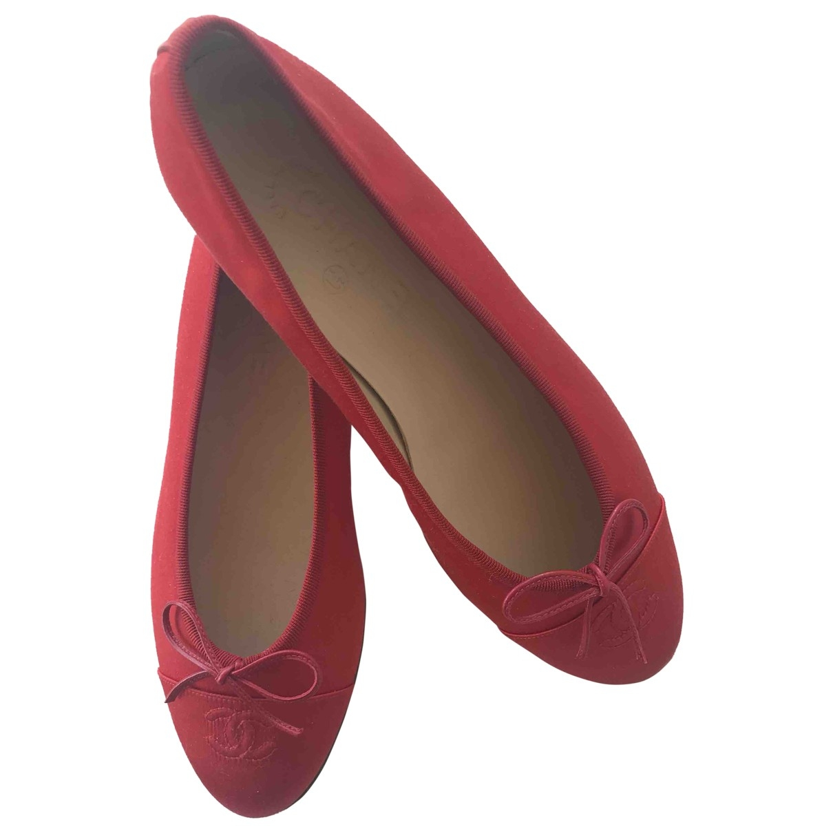 Chanel \N Red Cloth Ballet flats for Women 39 EU
