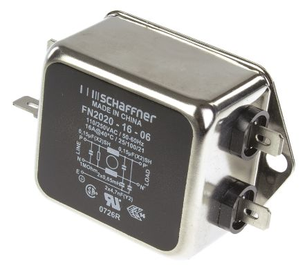 Schaffner , FN2020 16A 250 V ac 400Hz, Chassis Mount RFI Filter, Tab
