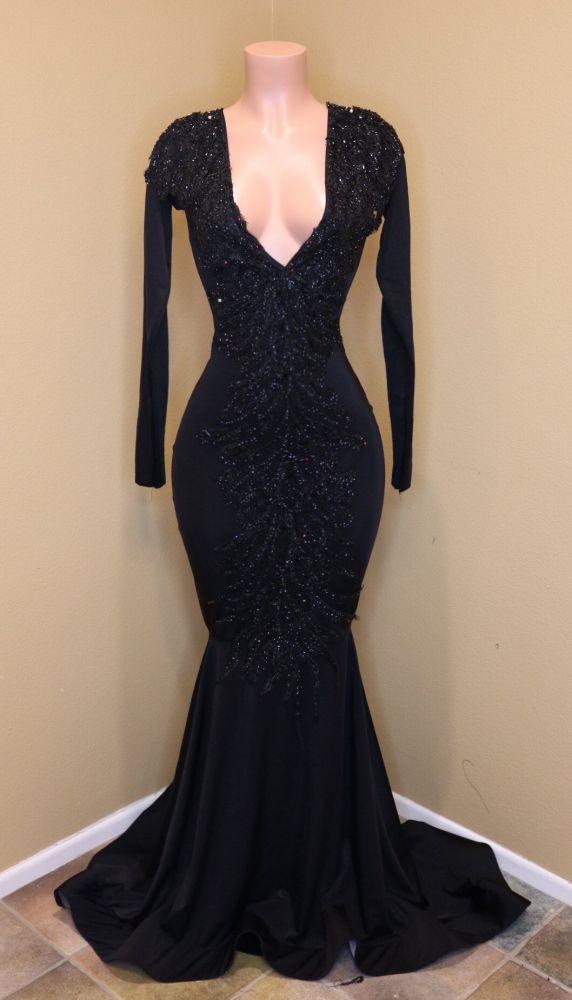Manches longues appliques paillettes elegante robes de soiree