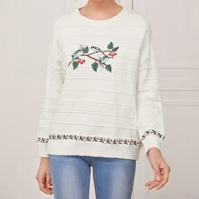 Drop Shoulder Bird and Floral Embroidery Sweater