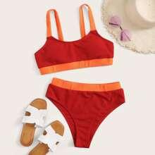 Bañador bikini de cintura alta ribete en contraste