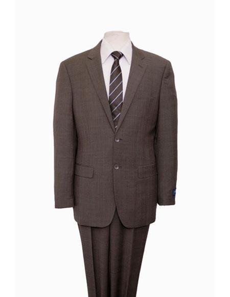 Men's Plaid Pattern Single Notch Lapel Suit Flat Front Pant Dark Taupe