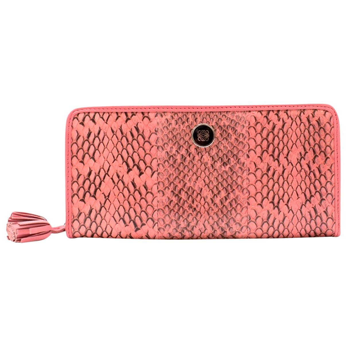 Loewe - Portefeuille   pour femme en python - rose