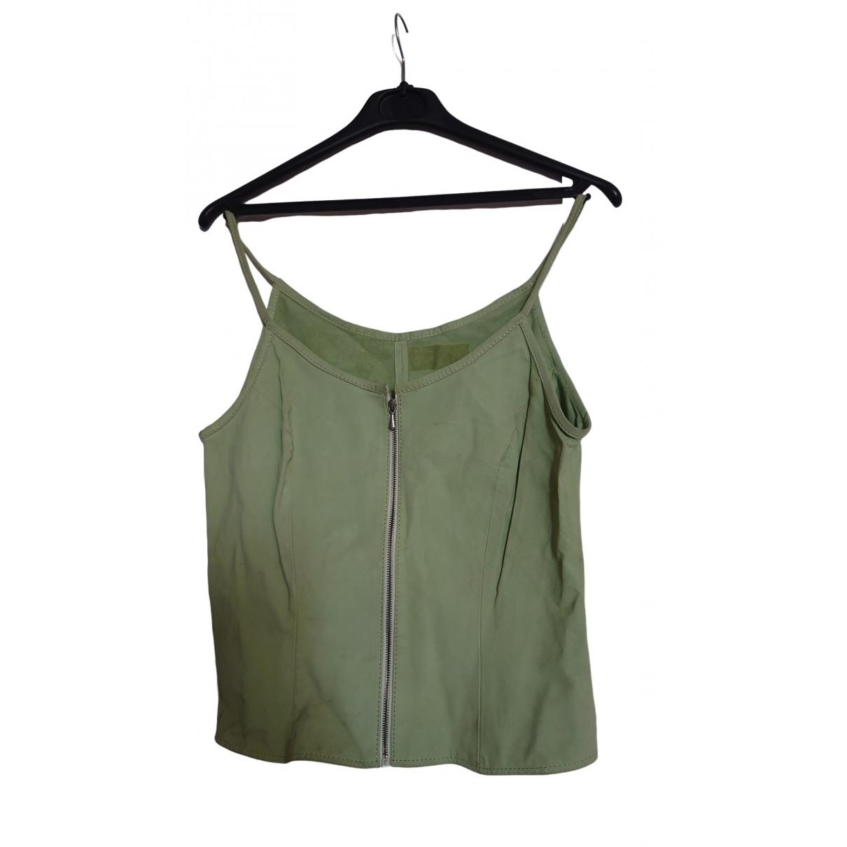 - Pull   pour femme en cuir - vert