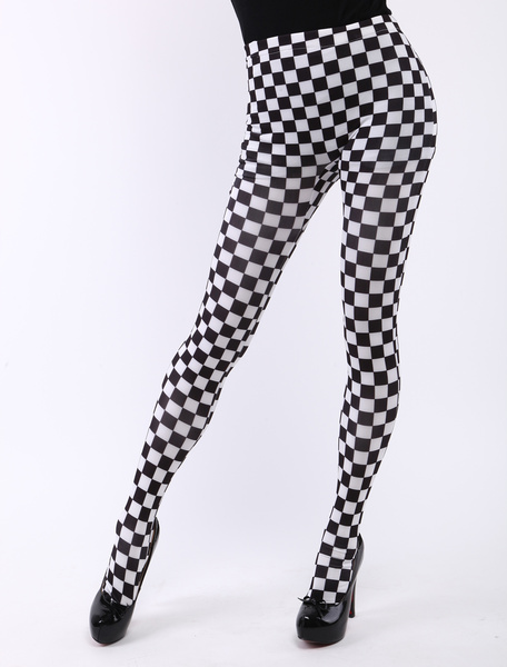 Milanoo Halloween Checkered Sexy Zentai Skinny Pants Halloween
