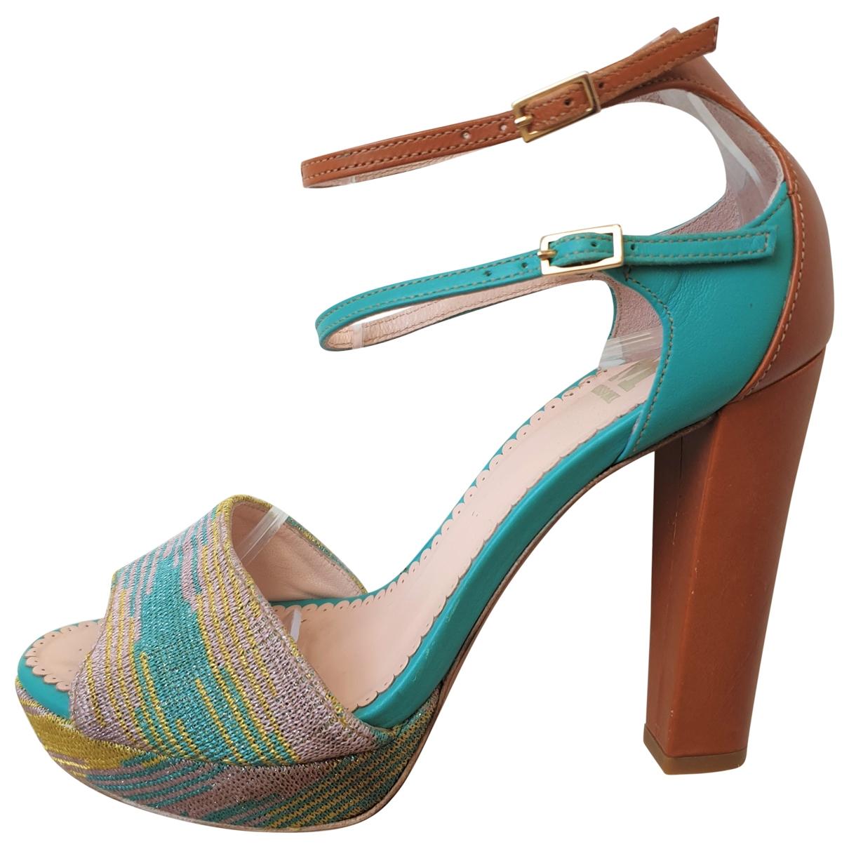 Missoni - Sandales   pour femme en cuir - bleu