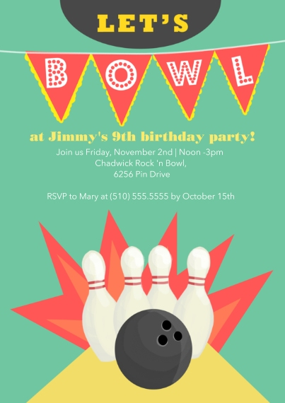 Kids Birthday Party 5x7 Cards, Standard Cardstock 85lb, Card & Stationery -Bowling Birthday