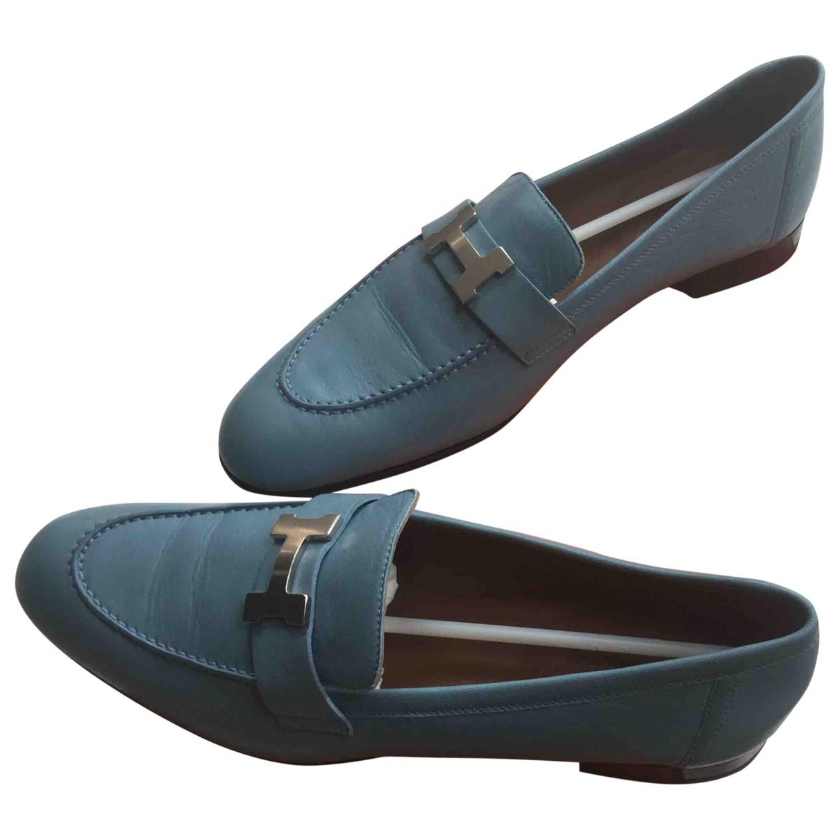 Hermes Paris Mokassins in  Blau Leder