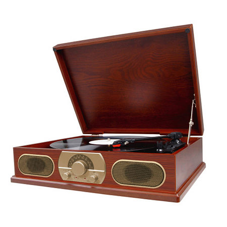 Studebaker SB6051 Wooden Turntable with AM/FM Radio, One Size , Brown