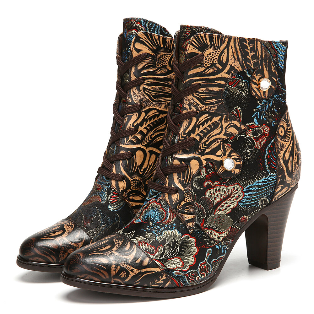 SOCOFY Vintage Floral Printed Cowhide Leather Warm Lined Wearable Side Zipper Short Boots